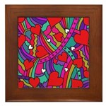 Heart and Rainbow Pattern Framed Tile