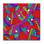 Heart and Rainbow Pattern Tile Coaster