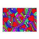 Heart and Rainbow Pattern 5'x7'Area Rug