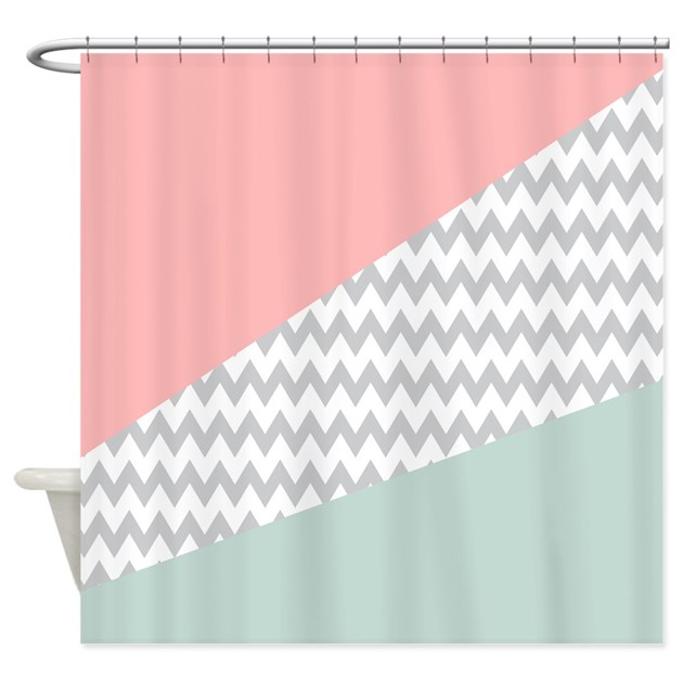 Coral Mint Green Chevron Abstract Shower Curtain by getyergoat