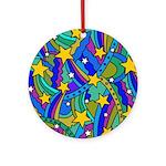 Shooting Star Hippie Pattern Ornament (Round)