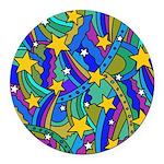 Shooting Star Hippie Pattern Round Car Magnet