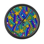 Shooting Star Hippie Pattern Large Wall Clock
