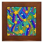 Shooting Star Hippie Pattern Framed Tile