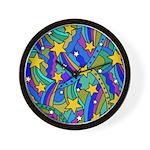Shooting Star Hippie Pattern Wall Clock