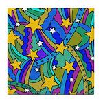 Shooting Star Hippie Pattern Tile Coaster