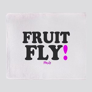 FRUIT FLY - PINK ZIP: - Throw Blanket