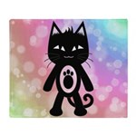 Kawaii Rainbow and Black Cat Throw Blanket
