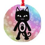 Kawaii Rainbow and Black Cat Ornament