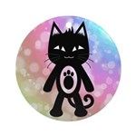 Kawaii Rainbow and Black Cat Ornament (Round)