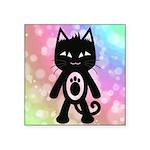 Kawaii Rainbow and Black Cat Sticker