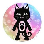 Kawaii Rainbow and Black Cat Round Car Magnet