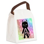 Kawaii Rainbow and Black Cat Canvas Lunch Bag