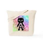 Kawaii Rainbow and Black Cat Tote Bag