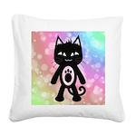 Kawaii Rainbow and Black Cat Square Canvas Pillow