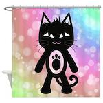 Kawaii Rainbow and Black Cat Shower Curtain