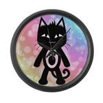 Kawaii Rainbow and Black Cat Large Wall Clock