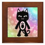 Kawaii Rainbow and Black Cat Framed Tile