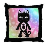 Kawaii Rainbow and Black Cat Throw Pillow