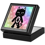 Kawaii Rainbow and Black Cat Keepsake Box