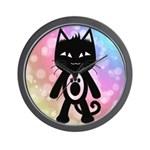 Kawaii Rainbow and Black Cat Wall Clock