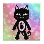 Kawaii Rainbow and Black Cat Tile Coaster