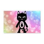 Kawaii Rainbow and Black Cat Wall Decal