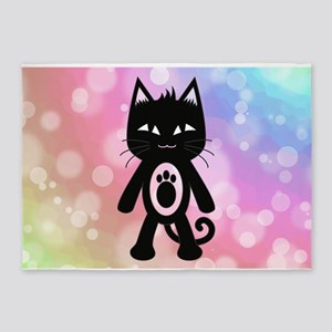 Kawaii Rainbow and Black Cat 5'x7'Area Rug