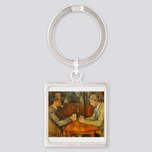 Famous Paintings: The Card Players Square Keychain