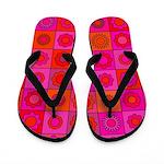Red Pink Hippie Flower Pattern Flip Flops
