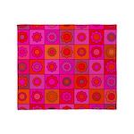 Red Pink Hippie Flower Pattern Throw Blanket