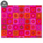 Red Pink Hippie Flower Pattern Puzzle