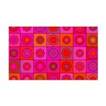 Red Pink Hippie Flower Pattern 35x21 Wall Decal