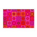 Red Pink Hippie Flower Pattern 20x12 Wall Decal