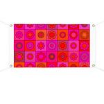 Red Pink Hippie Flower Pattern Banner