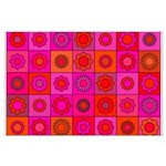 Red Pink Hippie Flower Pattern Large Poster