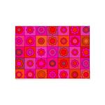Red Pink Hippie Flower Pattern 5'x7'Area Rug