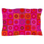 Red Pink Hippie Flower Pattern Pillow Case