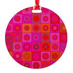Red Pink Hippie Flower Pattern Round Ornament
