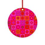 Red Pink Hippie Flower Pattern Ornament (Round)