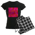 Red Pink Hippie Flower Pattern Women's Dark Pajama