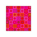 Red Pink Hippie Flower Pattern Square Sticker 3