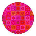 Red Pink Hippie Flower Pattern Round Car Magnet