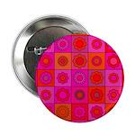 Red Pink Hippie Flower Pattern 2.25