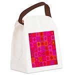 Red Pink Hippie Flower Pattern Canvas Lunch Bag