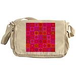 Red Pink Hippie Flower Pattern Messenger Bag