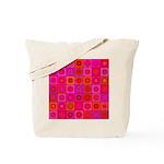 Red Pink Hippie Flower Pattern Tote Bag