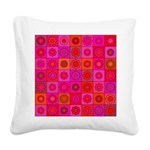 Red Pink Hippie Flower Pattern Square Canvas Pillo