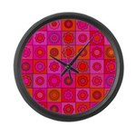 Red Pink Hippie Flower Pattern Large Wall Clock
