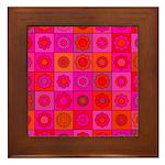 Red Pink Hippie Flower Pattern Framed Tile